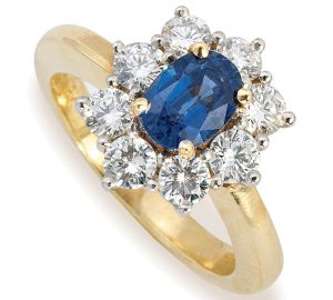 Beautiful 1.10 Carat Sapphire Ring Surrounded by Diamonds