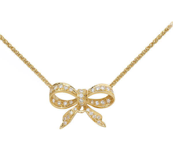 Charming Bow Pendant in Yellow Gold with Diamonds