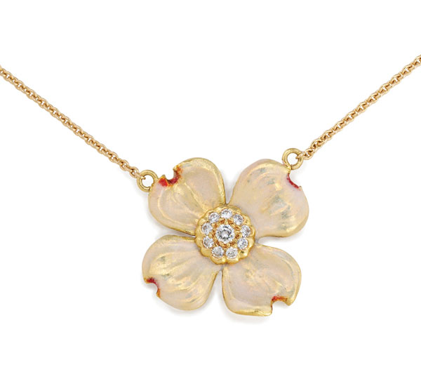 Beautiful Dogwood Pendant in Gold with Diamonds