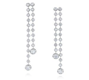 Double Row Diamond Dangles in 18K White Gold