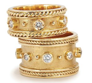 Fabulous Byzantine Style Bands in 18k Gold with Diamonds