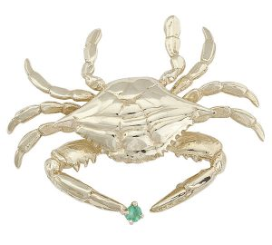 Hand-crafted Crab Pin in 18k Yellow Gold