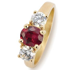 Intense 2.39 Carat Ruby in Platinum with Diamonds