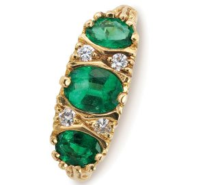 Intricate Ring Design in 18k Gold Showcases Emeralds and Diamonds