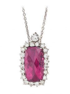 Rubelite and Diamond Pendant