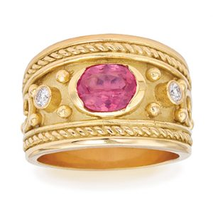 Spinel and Diamond Byzantine Ring