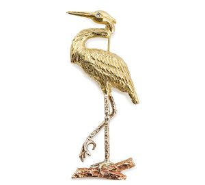 Stately Heron Pin in 18k. Yellow, White and Rose Gold