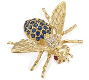 Whimsical Bee Pin in Gold with Sapphires, Diamonds and Rubies