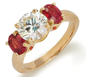 Wonderful Diamond Ring with Rubies